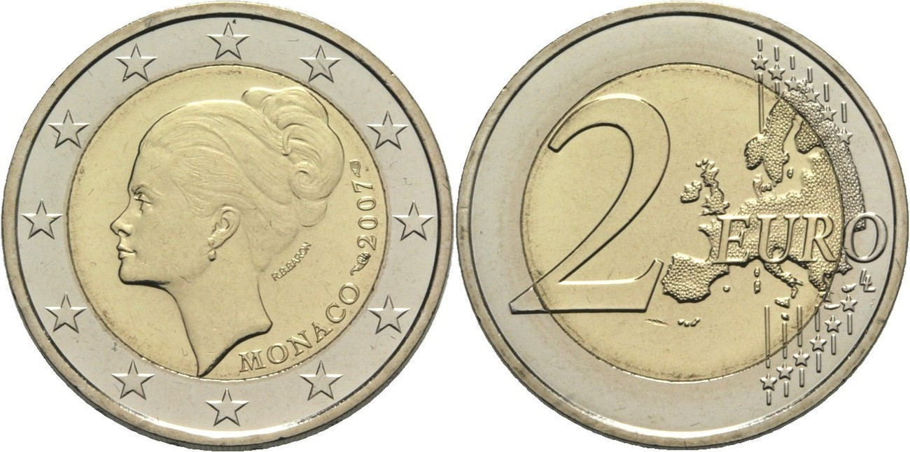монета 2 евпро Грейс Келли