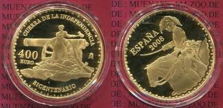 400 Euro Gold Unabhängigkeitskrieg 2008 Spanien Spanien 400 Euro Gold 2008 200 Jahre Unabhängigkeitskrieg  gegen Napoleon PP OVP Polierte Platte OVP
